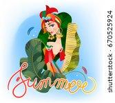 summer poster  card background... | Shutterstock .eps vector #670525924