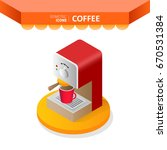 isometric icons   coffee. red...