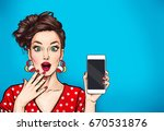 Stock photo attractive sexy girl with phone in the hand in comic style pop art woman holding smartphone 670531876