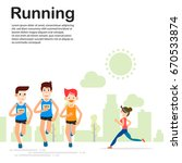 young people running jogging... | Shutterstock .eps vector #670533874