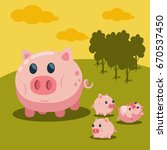 sweet pig with cute baby piglet ... | Shutterstock .eps vector #670537450