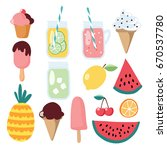 set of summer food  fruit and... | Shutterstock .eps vector #670537780
