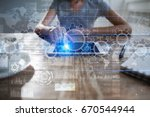 gears on virtual screen.... | Shutterstock . vector #670544944