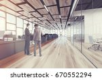 wooden floor open space office... | Shutterstock . vector #670552294