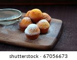 small cupcakes dessert on a brown background - stock photo