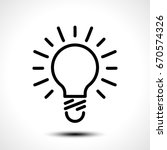 glowing bulb icon on white... | Shutterstock .eps vector #670574326