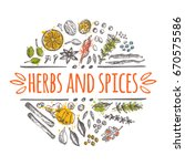 herbs and spices concept design.... | Shutterstock .eps vector #670575586