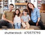 portrait of happy family... | Shutterstock . vector #670575793