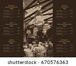 restaurant menu design. vector... | Shutterstock .eps vector #670576363