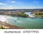 koblenz  deutsches eck  | Shutterstock . vector #670577953