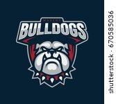 """bulldogs"" mascot logo design.... | Shutterstock .eps vector #670585036"
