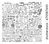 food sketch icons set  big hand ... | Shutterstock .eps vector #670587643