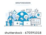 group discussion  dialogues and ... | Shutterstock .eps vector #670591018