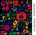 colorful money icon backgroung | Shutterstock .eps vector #670596550