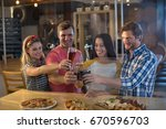 happy friends toasting beer... | Shutterstock . vector #670596703