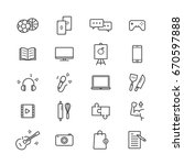 hobbies icon set on white... | Shutterstock .eps vector #670597888