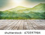 wooden table top with the... | Shutterstock . vector #670597984