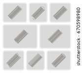 set of monochrome icons with... | Shutterstock .eps vector #670598980