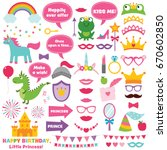 princess party design elements... | Shutterstock .eps vector #670602850