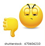 angry smiley showing thumb down.... | Shutterstock .eps vector #670606210