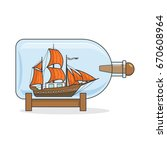 color ship with orange sails in ... | Shutterstock .eps vector #670608964