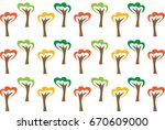 coloful trees pattern | Shutterstock .eps vector #670609000
