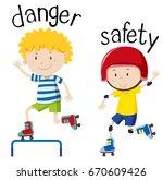 opposite wordcard for danger... | Shutterstock .eps vector #670609426