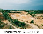 open pit mine with machines   Shutterstock . vector #670611310