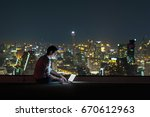 asian businessman sitting and... | Shutterstock . vector #670612963