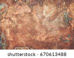aged copper plate texture with...   Shutterstock . vector #670613488