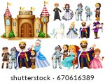 fairytale characters and castle ... | Shutterstock .eps vector #670616389