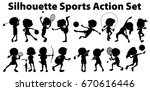 Silhouette Sports Action Set On ...