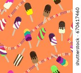 colorful popsicle ice cream... | Shutterstock .eps vector #670617460