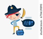 template with little pirate for ... | Shutterstock .eps vector #670619890