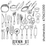 set of doodle kitchen hand... | Shutterstock .eps vector #670621000