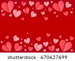 pink folded paper hearts frame... | Shutterstock . vector #670627699