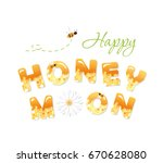 happy honeymoon letters.... | Shutterstock .eps vector #670628080