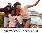 portrait of family standing... | Shutterstock . vector #670636423