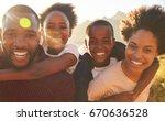 portrait of parents giving... | Shutterstock . vector #670636528