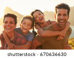 portrait of parents giving... | Shutterstock . vector #670636630