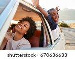 mother and children relaxing in ... | Shutterstock . vector #670636633