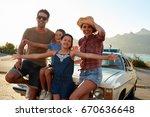 portrait of family standing... | Shutterstock . vector #670636648