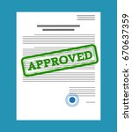 approved paper document  green... | Shutterstock .eps vector #670637359