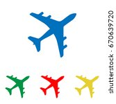 airplane sign illustration.... | Shutterstock .eps vector #670639720