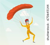 caucasian skydiver flying with... | Shutterstock .eps vector #670645144