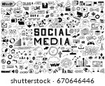 hand drawn social media objects ... | Shutterstock .eps vector #670646446