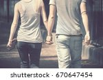 lovely couple get to hold  back ...   Shutterstock . vector #670647454