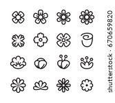 flower line icon set | Shutterstock .eps vector #670659820