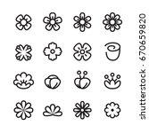 flower line icon set | Shutterstock .eps vector #670659820