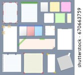 realistic blank note paper with ... | Shutterstock . vector #670663759